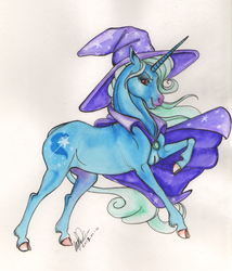 Size: 2205x2577 | Tagged: safe, artist:sagastuff94, trixie, classical unicorn, pony, unicorn, cape, clothes, cloven hooves, female, grin, hat, hoers, leonine tail, mare, profile, raised hoof, realistic, realistic horse legs, signature, simple background, smiling, solo, traditional art, trixie's cape, trixie's hat, unshorn fetlocks, watercolor painting