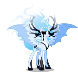 Size: 5000x4630 | Tagged: absurd res, alicorn, alternate universe, antlers, artist:orin331, bat pony, bat pony alicorn, black sclera, dancerverse, female, hybrid wings, mare, mournful frost, nightmare cadance, nightmarified, pony, princess cadance, safe, simple background, solo, transparent background