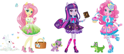 Size: 1400x608 | Tagged: safe, angel bunny, fluttershy, gummy, pinkie pie, spike, twilight sparkle, alicorn, butterfly, dog, equestria girls, book, box art, concept art, equestria girls prototype, hat, high heels, lipstick, party hat, shoes, simple background, spike the dog, transparent background, twilight sparkle (alicorn)