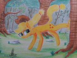 Size: 4128x3096 | Tagged: safe, artist:ironbeastz, applejack, earth pony, pony, applebucking, cowboy hat, female, hat, high res, mare, scenery, signature, solo, stetson, traditional art, tree