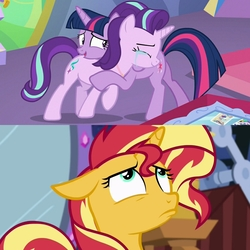 Size: 2048x2048   Tagged: safe, edit, edited screencap, screencap, starlight glimmer, sunset shimmer, twilight sparkle, alicorn, pony, unicorn, celestial advice, equestria girls, mirror magic, spoiler:eqg specials, crying, cushion, cute, emotional, eyes closed, female, floppy ears, friendship, glare, gritted teeth, horn, hug, levitation, looking up, love, magic blast, mare, mirror, painting, pedestal, photos, pouting, present, ribbon, smiling, snuggling, student, teacher, tears of joy, telekinesis, twilight sparkle (alicorn), twilight's castle