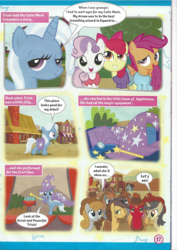 Size: 826x1169 | Tagged: apple bloom, appleloosa, cape, clothes, comic, cowboy hat, cutie mark crusaders, earth pony, female, filly, hat, magazine scan, mare, pegasus, pony, safe, scootaloo, sweetie belle, trixie, trixie n'abandonne jamais !, trixie's cape, trixie's hat, unicorn, younger