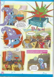 Size: 826x1169 | Tagged: cape, clothes, comic, cowboy hat, crowd, female, filly, frog, hat, magazine scan, pony, safe, trixie, trixie n'abandonne jamais !, trixie's cape, trixie's hat, unicorn, younger
