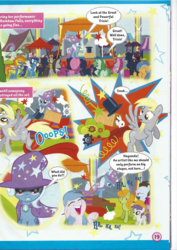 Size: 826x1169 | Tagged: safe, derpy hooves, octavia melody, soarin', spitfire, trixie, pegasus, pony, rabbit, unicorn, rainbow falls, comic, female, filly, magazine scan, mare, trixie n'abandonne jamais !, wonderbolts, younger