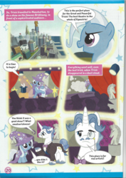 Size: 826x1169 | Tagged: safe, fancypants, trixie, pony, unicorn, comic, crown, crystaller building, female, filly, jewelry, magazine scan, male, manehattan, mare, monocle, pier, piers, regalia, stadium, stallion, trixie n'abandonne jamais !, younger