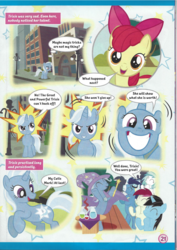 Size: 826x1169 | Tagged: apple bloom, clapping ponies, comic, cute, cutie mark, cutiespark, dialogue, diatrixes, earth pony, eyes closed, female, filly, grin, happy, irrational exuberance, looking at you, magazine scan, male, mare, oc, oc:andrea, pegasus, pony, roseluck, safe, smiling, soarin', stallion, trixie, trixie n'abandonne jamais !, unicorn, younger