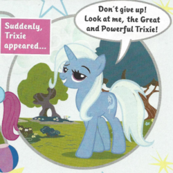 Size: 345x345 | Tagged: safe, trixie, pony, unicorn, advice, bronybait, comic, cropped, female, great and powerful, grin, magazine, magazine scan, mare, motivational, photo, smiling, smirk, solo, speech bubble, trixie n'abandonne jamais !, united kingdom