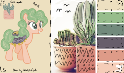 Size: 1699x1011 | Tagged: safe, artist:deerloud, oc, oc only, cactus pony, original species, pony, cactus, female, mare, reference sheet, solo