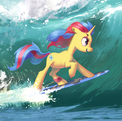 Size: 2345x2327   Tagged: safe, artist:lis-alis, oc, oc only, oc:stormfall drizzle, pony, unicorn, cute, female, mare, multicolored hair, multicolored mane, open mouth, raised hoof, smiling, solo, surfboard, surfing, water, wave