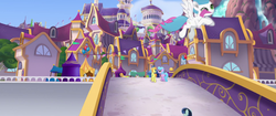 Size: 1920x804 | Tagged: safe, screencap, earth pony, pegasus, pony, my little pony: the movie, architecture, background pony, bridge, canterlot, canterlot castle, city, female, friendship festival, male, mare, market, ribbon, scenery, stallion, unnamed pony