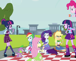 Size: 1337x1077 | Tagged: alicorn, applejack, boots, clothes, cowboy hat, cropped, denim skirt, dog, equestria girls, fluttershy, friendship games, hat, humane five, humane six, juice, juice box, leg warmers, mane six, paradox, pinkie pie, pleated skirt, rainbow dash, rarity, safe, sci-twi, screencap, self paradox, shoes, skirt, socks, spike, spike the regular dog, stetson, twilight sparkle, twilight sparkle (alicorn), twolight