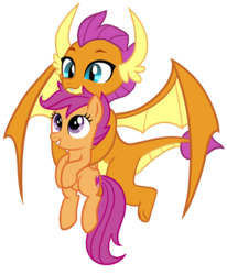 Size: 1008x1224   Tagged: safe, artist:thecheeseburger, scootaloo, smolder, dragon, pony, school daze, season 8, carrying, cute, cutealoo, dragoness, duo, fangs, female, filly, flying, grin, holding a pony, looking up, similarities, simple background, smiling, smolderbetes, spoiler, spread wings, transparent background, vector, wings