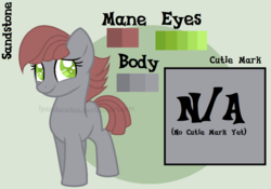 Size: 1098x770 | Tagged: artist:ipandacakes, earth pony, female, filly, oc, oc only, oc:sandstone, offspring, parent:flam, parent:limestone pie, pony, reference sheet, safe, solo