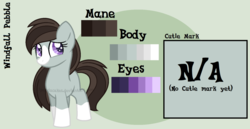 Size: 1526x785 | Tagged: artist:ipandacakes, blaze (coat marking), earth pony, female, filly, mare, oc, oc only, oc:windfall pebble, offspring, parent:marble pie, parents:marbleshoes, parent:troubleshoes clyde, pony, reference sheet, safe, socks (coat marking), solo