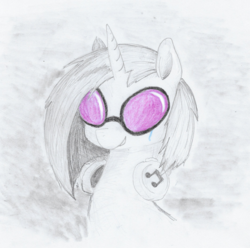 Size: 1067x1057 | Tagged: artist:t72b, bust, derpibooru exclusive, dj pon-3, glasses, grin, partial color, portrait, sad, safe, smiling, solo, teary eyes, traditional art, vinyl scratch