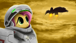 Size: 1680x945   Tagged: safe, artist:jeremywithlove, fluttershy, pegasus, pony, armor, bust, crossover, female, future, futuristic, looking away, looking up, medic, portrait, powered exoskeleton, science fiction, sky, smiling, solo, spaceship, spacesuit, starcraft