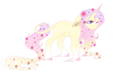 Size: 1024x614 | Tagged: safe, artist:kiara-kitten, fluttershy, classical unicorn, pony, unicorn, leak, spoiler:g5, cloven hooves, colored hooves, female, flower, flower in hair, flower in tail, fluttershy (g5), g5, gradient mane, leonine tail, mare, one eye closed, race swap, simple background, solo, transparent background, unicorn fluttershy, unshorn fetlocks