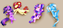 Size: 8233x3731 | Tagged: alternate hairstyle, artist:pinkablue, counterparts, looking at you, looking up, missing cutie mark, moondancer, on back, one eye closed, pony, safe, simple background, sleeping, starlight glimmer, trixie, twilight's counterparts, twilight sparkle, unicorn, unicorn twilight, yawn