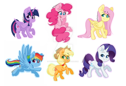 Size: 1024x699 | Tagged: alicorn, applejack, applejack's hat, artist:twisted-sketch, cowboy hat, female, fluttershy, hat, horn, looking at you, mane six, mare, pegasus, pinkie pie, pony, rainbow dash, rarity, safe, smiling, sticker, twilight sparkle, twilight sparkle (alicorn), unicorn, watermark, wings