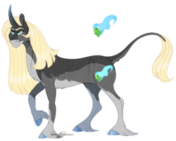 Size: 1275x1025 | Tagged: artist:bijutsuyoukai, cloven hooves, magical gay spawn, male, oc, oc:atropa belladonna, oc only, parent:king sombra, parent:prince blueblood, parents:somblood, pony, safe, simple background, solo, stallion, transparent background, unicorn, unshorn fetlocks