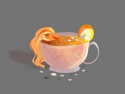 Size: 4000x3000 | Tagged: artist:dinoalpaka, cup, cup of pony, cute, flower, flower petals, food, gray background, micro, oc, oc:mistie pone, oc only, orange, pony, rcf community, resting, safe, shadow, simple background, solo, tea, ych result