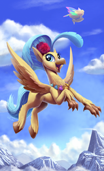 Size: 1500x2444   Tagged: safe, artist:tsitra360, princess skystar, classical hippogriff, hippogriff, my little pony: the movie, airship, cute, female, flying, happy, mountain, seashell necklace, sky, skyabetes, smiling, solo, sweet dreams fuel