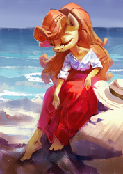 Size: 2893x4092 | Tagged: safe, artist:holivi, carrot top, golden harvest, anthro, plantigrade anthro, barefoot, beach, beautiful, clothes, dress, feet, female, hat, smiling, solo, water