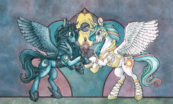 Size: 2360x1430 | Tagged: alicorn, armor, artist:fillyphalanx, bracelet, clothes, crown, duo, helmet, horn accessory, horn ring, horns are touching, jewelry, pony, princess celestia, princess luna, rearing, regalia, ruffles, safe, shoes, traditional art, watercolor painting