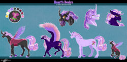 Size: 2588x1260 | Tagged: safe, artist:bijutsuyoukai, oc, oc only, oc:heart's desire, changeling, changepony, hybrid, pegasus, pony, unicorn, disguise, disguised changeling, female, interspecies offspring, magical lesbian spawn, male, mare, offspring, parent:princess cadance, parent:queen chrysalis, parents:cadalis, pink changeling, solo, stallion