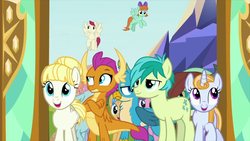 Size: 1920x1080 | Tagged: safe, screencap, berry blend, berry bliss, gallus, ocellus, peppermint goldylinks, sandbar, smolder, sugar maple, summer breeze, summer meadow, yona, dragon, earth pony, griffon, pegasus, pony, unicorn, school daze, background pony, bow, cutie mark, dragoness, excited, female, flying, friendship student, hair bow, hair bun, male, mare, raised eyebrow, school of friendship, smolder is not amused, stallion, teenager, unimpressed, wings