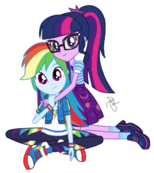 Size: 1818x2048 | Tagged: artist:ilaria122, clothes, converse, equestria girls, equestria girls series, female, geode of super speed, geode of telekinesis, glasses, lesbian, magical geodes, not a vector, pants, ponytail, rainbow dash, safe, sci-twi, scitwidash, shipping, shoes, simple background, skirt, socks, transparent background, twidash, twilight sparkle