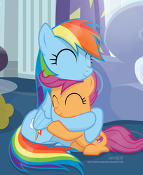 Size: 1962x2402 | Tagged: safe, artist:shutterflyeqd, rainbow dash, scootaloo, pegasus, pony, cute, cutealoo, daaaaaaaaaaaw, dashabetes, dawwww, eyes closed, featured image, female, filly, happy, hnnng, hug, mare, scootalove, show accurate, shutterflyeqd is trying to murder us, signature, sisterly love, sitting, smiling, sweet dreams fuel, weapons-grade cute, wholesome