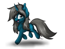 Size: 1024x768 | Tagged: safe, artist:artsy_shark, oc, oc only, oc:blue moon, pony, unicorn, female, filly, fluffy, happy, horn, looking at you, missing cutie mark, simple background, solo, trotting, underhoof