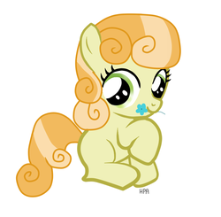 Size: 846x828 | Tagged: safe, artist:haylincita, junebug, earth pony, pony, cute, female, filly, flower, mouth hold, raised hoof, smiling, solo, younger