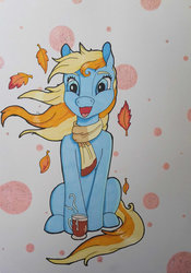 Size: 800x1144   Tagged: safe, artist:fia94, autumn skye, g3, autumn skye is amused, clothes, female, leaves, scarf, solo, traditional art