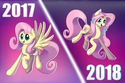 Size: 2743x1828 | Tagged: safe, artist:supercoco142, fluttershy, pegasus, pony, unicorn, leak, spoiler:g5, 2010s, 2017, 2018, 2020, comparison, fluttershy (g5), g4, g5, gradient background, older, older fluttershy, race swap, solo, unicorn fluttershy
