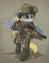 Size: 2158x2788 | Tagged: safe, artist:orang111, derpy hooves, pegasus, anthro, unguligrade anthro, armor, assault rifle, boots, boots on hooves, clothes, detailed, exosuit, female, grenade launcher, gun, headset, helmet, high res, hud, mare, operator, powered exoskeleton, railgun, rifle, shoes, solo, trigger discipline, visor, weapon, wings