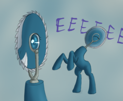 Size: 1356x1122 | Tagged: safe, artist:panzerhi, oc, oc only, original species, pony, saw pony, anime eyes, blue background, circular saw, eeee, eyes closed, female, grin, i can't believe it's not badumsquish, mare, rearing, simple background, smiling, solo, squee, wat