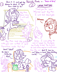Size: 4779x6013   Tagged: safe, artist:adorkabletwilightandfriends, big macintosh, spike, starlight glimmer, dragon, earth pony, pony, unicorn, comic:adorkable twilight and friends, absurd resolution, adorkable friends, automobile, bipedal, bipedal leaning, car, comic, engine, humor, leaning, lineart, mechanic, plot, slice of life, teasing, volvere, volvo