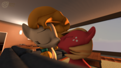 Size: 3840x2160 | Tagged: safe, artist:sourcypony, big macintosh, pear butter, earth pony, pony, 3d, applecest, colt, female, fetish, incest, infidelity, kissing, male, mare, mother and son, pearmac, shipping, source filmmaker, straight