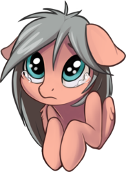 Size: 1082x1481 | Tagged: artist:taneysha, bust, crying, female, floppy ears, mare, oc, oc:gearsy septima, oc only, pegasus, pony, sad, safe, simple background, solo, sticker, transparent background