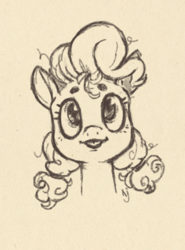 Size: 609x823 | Tagged: safe, artist:skrapbox, pinkie pie, earth pony, pony, :p, alternate hairstyle, bust, cute, diapinkes, eyebrows, female, looking at you, mare, monochrome, pigtails, portrait, simple background, sketch, solo, tongue out, traditional art, white background