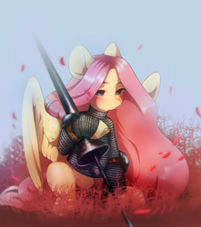 Size: 1907x2160 | Tagged: safe, artist:dagmell, fluttershy, pegasus, pony, armor, badass, chainmail, chromatic aberration, fantasy class, female, flutterbadass, hauberk, hoof hold, joust, knight, lance, lidded eyes, looking at you, looking sideways, lycoriasis, mare, sitting, solo, spread wings, warrior, weapon, wings