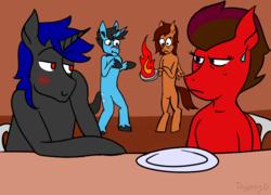 Size: 736x531   Tagged: safe, artist:dyonys, oc, oc only, oc:artis, oc:dusk shine, oc:red saber, oc:secret, pegasus, pony, unicorn, draw your squad, female, male, mare, stallion