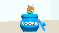 Size: 1366x768 | Tagged: safe, artist:whirlhorse, derpibooru exclusive, oc, oc only, oc:windy whirls, deer, original species, peryton, 3d, cookie, cookie jar, food, gmod, simple background, solo