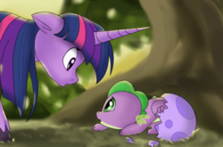 Size: 1214x800 | Tagged: safe, artist:emositecc, spike, twilight sparkle, pony, unicorn, alternate universe, baby, baby spike, dragon egg, egg, female, looking at each other, mare, spike's egg, tree