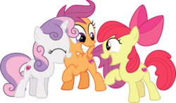 Size: 5669x3316 | Tagged: safe, artist:sinkbon, apple bloom, scootaloo, sweetie belle, earth pony, pegasus, pony, unicorn, crusaders of the lost mark, .svg available, cute, cutie mark, cutie mark crusaders, female, filly, foal, simple background, the cmc's cutie marks, transparent background, trio, vector