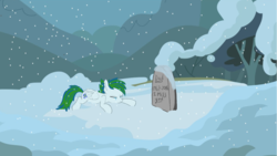 Size: 1920x1080 | Tagged: crying, grave, gravestone, grief, laying down, oc, oc only, pony, rest in peace, safe, snow, solo, winter