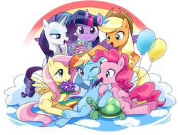 Size: 2500x1900 | Tagged: alicorn, applejack, artist:ryuu, balloon, cowboy hat, earth pony, female, flower, fluttershy, glowing horn, happy birthday, hat, levitation, magic, magic aura, male, mane six, mare, pegasus, pinkie pie, pony, rainbow, rainbow dash, rainbow dash day, rainbow dash gets all the mares, rarity, safe, tank, telekinesis, tortoise, twilight sparkle, twilight sparkle (alicorn), unicorn
