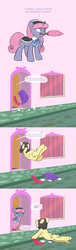 Size: 673x2219 | Tagged: artist:carnifex, clothes, comic, cowl, cyrillic, earth pony, edit, female, maid, male, mare, oc, oc only, oc:strap, oc:velvet, pony, russian, safe, stallion, throwing, translated in the comments, tumblr, unicorn